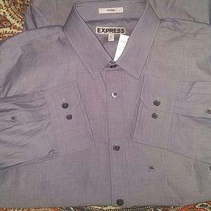 Express Fitted Dress Shirt, XL, 17/17.5-36